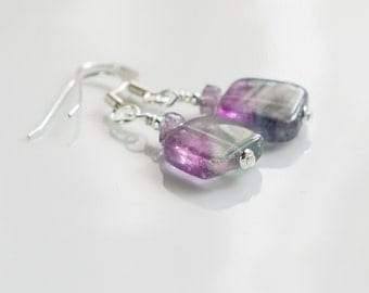 Fluorite earrings fluorite jewelry amethyst jewelry lilac green earring fluorite amethyst sterling silver handmade gemstone stone earrings