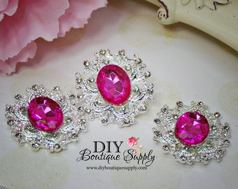 Large Hot PINK Rhinestone Buttons Crystal Buttons Flatback Embellishment For Shoe Clips, Headbands Bows flower centers 3pc 35mm N101