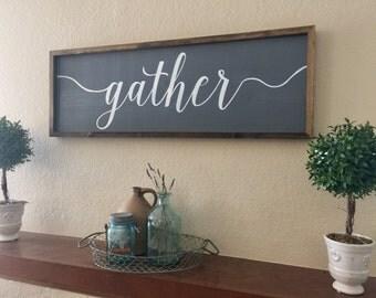Gather Sign Wood Framed