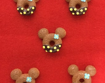 Set of 5 Brown/Yellow Minnie Resin