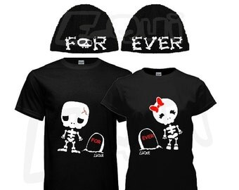Couple T-shirt & Beanies Set, his and hers, Skelleton theme - black. Unique gifts for couples Valentine's, Anniversary, Wedding