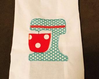 Tea towel with a cute little mixer cotton flour sack