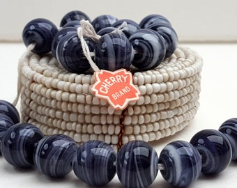 8 Cherry Brand Vintage Glass Beads-Navy Blue, Dark Amethyst and White Swirl-10mm Round-