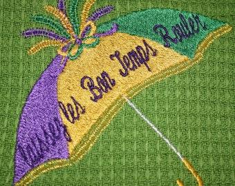 Mardi Gras Umbrella machine embroidery design