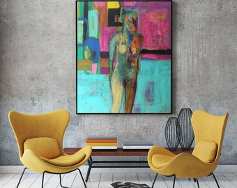 Art Painting, mixed media Painting, Print, Oil Painting Woman, Woman Painting, Figurative Art, Figure Art