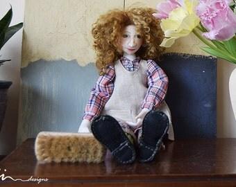 OOAK Annie the little orphan girl art cloth doll with broom