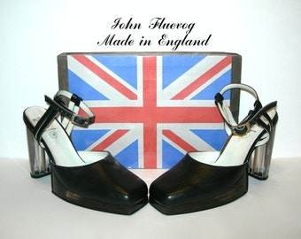 On Sale~Uk 6~Ultra Rare Fluevog Mary Janes Lucite Heels/Platforms Butter Leather~England-size 6 UK= size 8 to 8.5 Us womens 39 Eur
