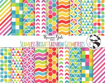 50% OFF Seamless Rainbow Geometric Pattern Digital Paper Set - Personal & Commercial Use