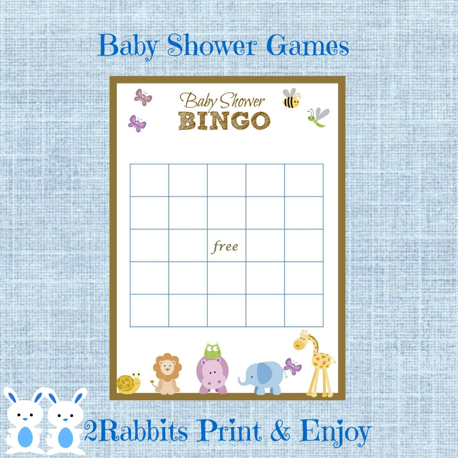 Free Printables Baby Shower Games: Safari Jungle Animal Baby Shower Bingo Gift Cards Game Blank