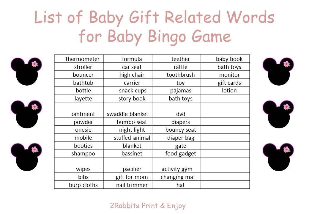 Baby Shower Bingo Blank