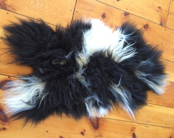 Black and White Icelandic Lamb Pelt
