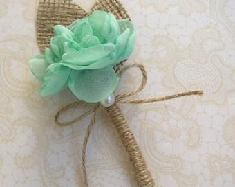 Mint Boutonniere, Rustic Wedding, Groom Lapel Pin, Groomsmen, Rustic Mint Butoniere, Floral Lapel Pin, Corsage Brooch Pin, Burlap Wedding