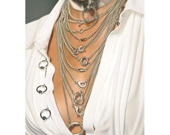 JP GAULTIER ~ Authentic Multi Strand Chain Necklace - Runway