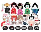 54 Funny Japan Geisha Samurai Photo Booth Props - Japanese Pop Culture - DIY Digital File PDF Instant Download