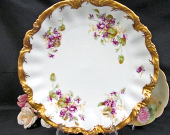 Wonderful  Limoges France huge plate with painted violets thick gold bands charger