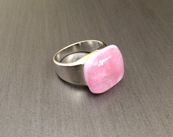 Pink Speckled fused glass ring