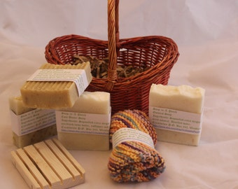 Handmade Soap Gift Basket with Hand knitted Washcloth & Soap Dish