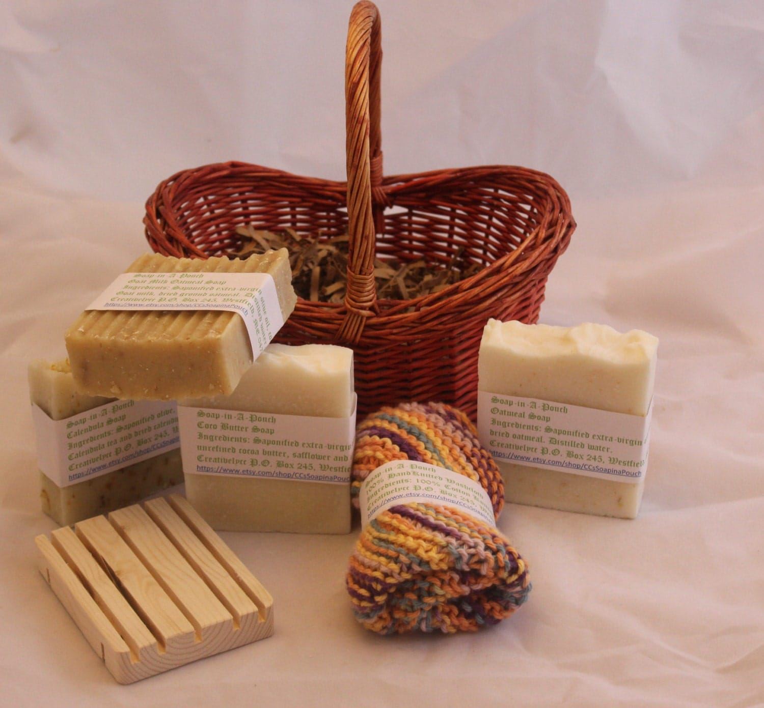 Handmade Basket Gifts : Handmade soap gift basket with hand knitted washcloth