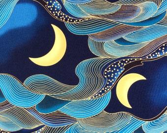 Fabric, Dragon Moon in Blue, Kona Bay, By the Yard