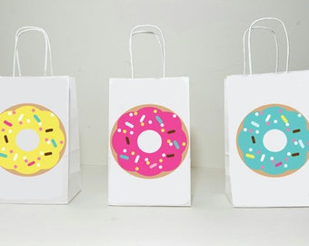 Donut Goody Bags, Donuts Party Bags, Donut Gift Bags, Donut Treat Bags, Donut Goodie Bags, Donut Birthday, Donut Party, Donut Favors