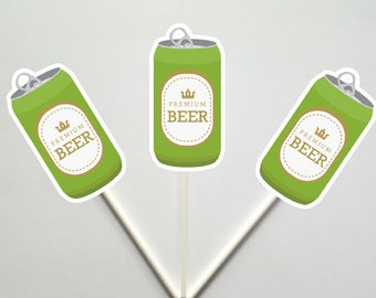Beer Cupcake Toppers, Father's Day Cupcake Toppers, Superbowl Cupcake Toppers,