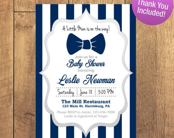 Boy Baby Shower Invitation, Little Man, Baby Shower, Bowtie Invite, FREE THANK YOU
