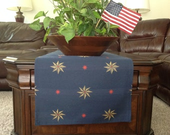 Navy Blue Table Runner with Red and Gold Stars