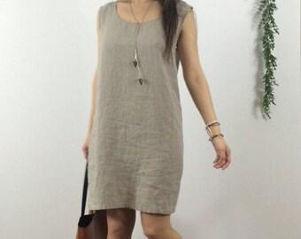 Sleeveless Shift Dress - Linen / Tunic / Shirt / Dress