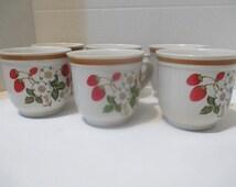 6 Sheffield Strawberries N Cream Cups Mugs Coffee Tea