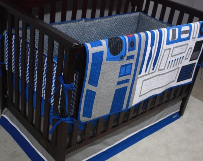 Star Wars Baby Bedding--R2-D2--Custom Crib Bedding--With Bumpers OR rail guards-MTO
