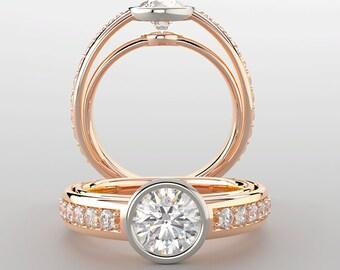 Forever One Moissanite Engagement Ring| 1 Carat Forever One Moissanite| Rose Gold| Diamonds| Unique Modern Engagement Ring