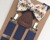 Baby Bow Tie and Suspenders, Toddler Bow Tie and Suspenders, Navy Triangle Bow Tie Navy Suspenders