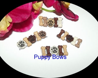 Puppy Bows ~Barrette DOG HOUSE paw print   fire hydrant boys pet hair clip bow ~USA seller