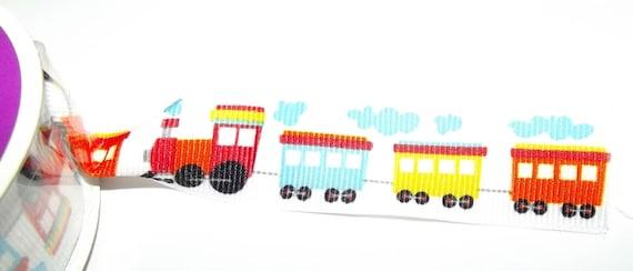 "Puppy Bows ~ ribbon craft supplies  7/8"" choo choo train red blue orange steam engine 5 yards"