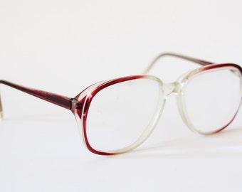 Vintage eyeglasses frame glasses eyewear oversize specs ruby wine red transparent