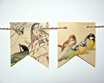 Birds garland ~ Countryside paper bunting ~ Edwardian Lady paintings ~ Tea party flags ~ Wall decor ~ Eco friendlly nature lover gift