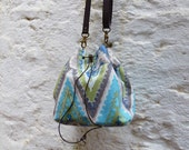 Small turquoise bucket bag,printed canvas,ethnic,tribal bucket bag,shoulder bag,handmade,summer bag,women's bag,original gift,accessory