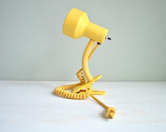 Vintage 1980s Yellow Lamp, Clip Clamp Design, Gooseneck Adjustable Flexible Light