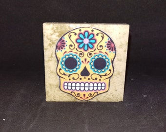 Sugar Skull (Style3) - Tile Magnets 1-3/4 x 1-3/4