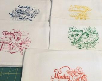 Backyard Birds,  Days of the Week,  Flour Sack Dish Towel Set (7 Towels, Machine Embroidered)