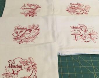 Backyard Birds, Redwork, Days of the Week,  Flour Sack Dish Towel Set (7 Towels, Machine Embroidered)