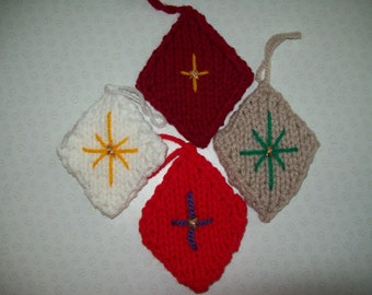 Knitted Diamond Christmas Tree Decorations. Selection
