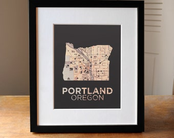 Portland Oregon Map Print, Portland Print, Portland Art, Oregon Art, Oregon Map Art, High Quality Giclee Print