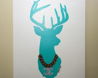 Final Sale! Deer Chanel Painting (20x24) Deer Head Art, Decor Art, Pop Art, Deer Painting