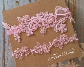 Wedding garter set, Light pink Garter, Rhinestone light Pink Garter, Bridal garters light pink,bridal garter,Floral lace garter,Garter Set