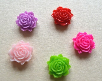 15x Mix Resin Cabochon, Roses Cabochon, 12x11mm Cabs, Flower Cabochon, Embellishment, Scrap booking, Wedding , Cards, Jewellery Making
