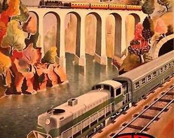 Vintage Portugese Railways A3 Poster Reprint