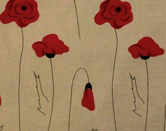 Linen - cotton fabric with poppy