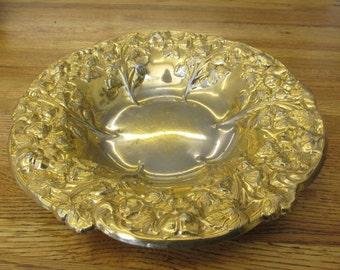 Vintage 24k Gold EP Ornate Large Bowl