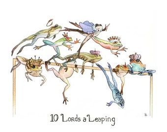 10 Lords a Leaping- Handmade Blank Greeting Card by Amelia Leonards